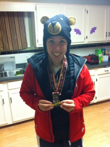 Here's the 9-year-old in me super excited about my medal and wearing my awesome bear hat.