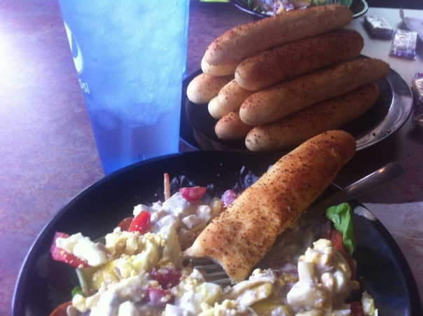 plate of breadsticks