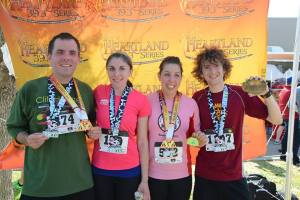 Jason and I have our first year finisher medals for the Heartland Series. Sam, on the far right, is holding the Belt Buckle you get for completing it 2 years.