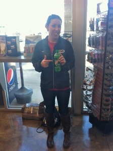 Picking up some post-race Dew on the way home and showing off my awesome new boots - I found ones that not only fit my giant calves but were loose!