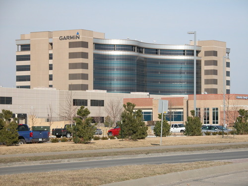 It's hard to pay no attention to the giant building behind the strip mall. Garmin HQ is a beautiful building.