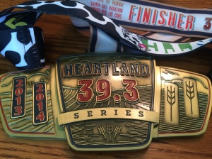 The square in the middle is what the first time Heartland Series finishers got. Since it was our second year, we got the background medal with slots to add additional years to it.