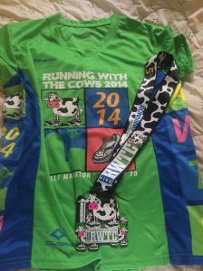 Running with the Cows shirt and medal