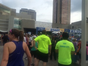 Getting ready to start the 5k on Friday evening. Heat and humidity included, of course.