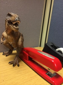 To keep people from s-s-s-t-t-tealing your s-s-s-s-tapler, one should hire security. Like a T-Rex.